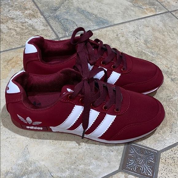 Womens Burgundywhite Adidas Tennis Shoe